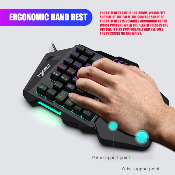 Single Handed Gaming Keyboard 35 Keys LED Backlight and Wired Gaming Mouse Combo with Breathing Light 3