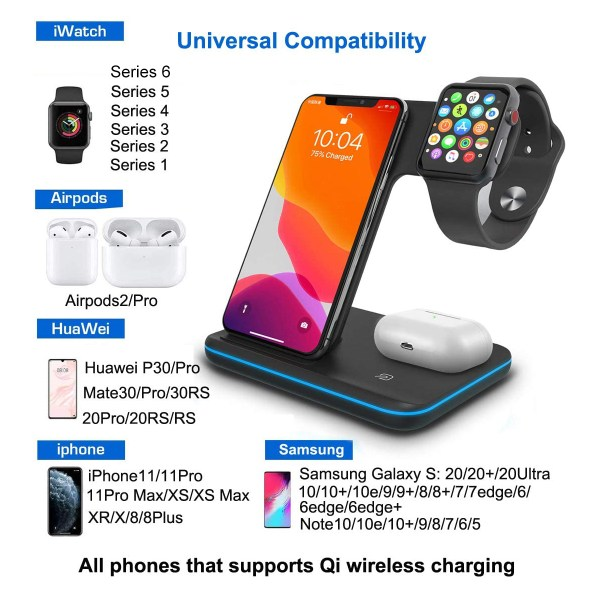 Qi All Wireless Charging Station for iWatch Series 6 5 4 3 2 1, Airpods 2/Pro, Qi Enabled Phones 2