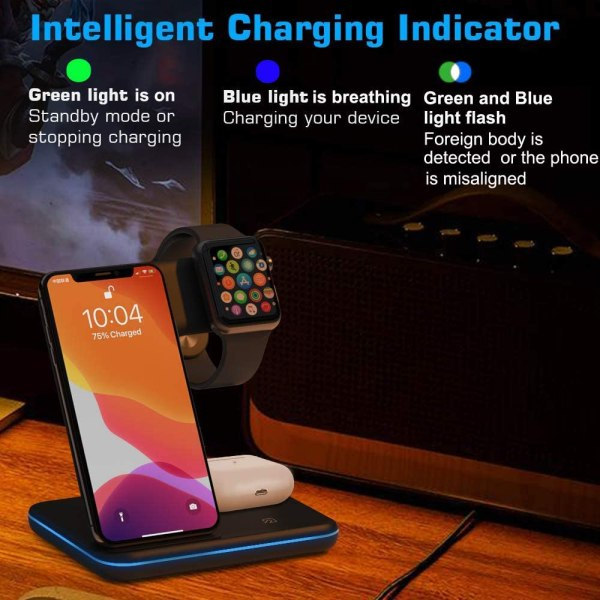 Qi All Wireless Charging Station for iWatch Series 6 5 4 3 2 1, Airpods 2/Pro, Qi Enabled Phones 4