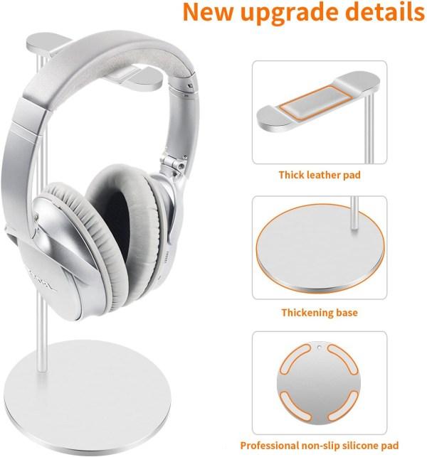 Aluminum Headphone Stand/Holder, Sturdy Gaming Headset Holder Desk Headset Hanger 3