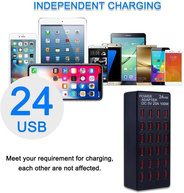 24 Ports Desktop Multiple USB Charger, DC 5V 20A 100W USB Charging Station 2