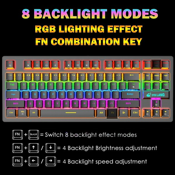 Mechanical Gaming Keyboard Blue Switch 87 Keys USB Wired Rainbow LED Backlit Keyboard For PC Laptop Computer 2