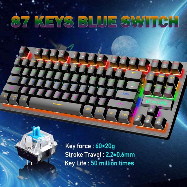 Mechanical Gaming Keyboard Blue Switch 87 Keys USB Wired Rainbow LED Backlit Keyboard For PC Laptop Computer 3