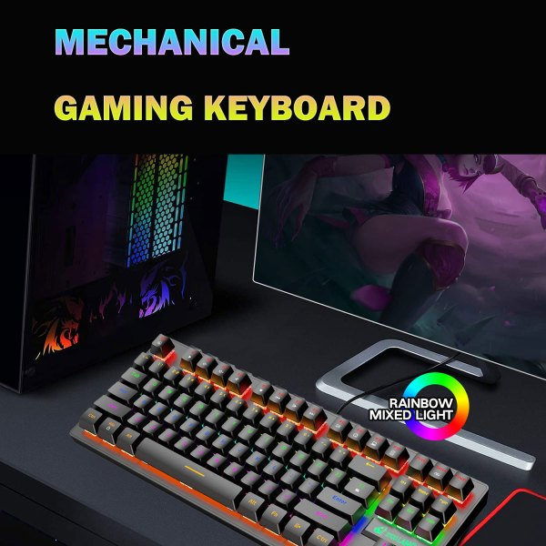 Mechanical Gaming Keyboard Blue Switch 87 Keys USB Wired Rainbow LED Backlit Keyboard For PC Laptop Computer 5