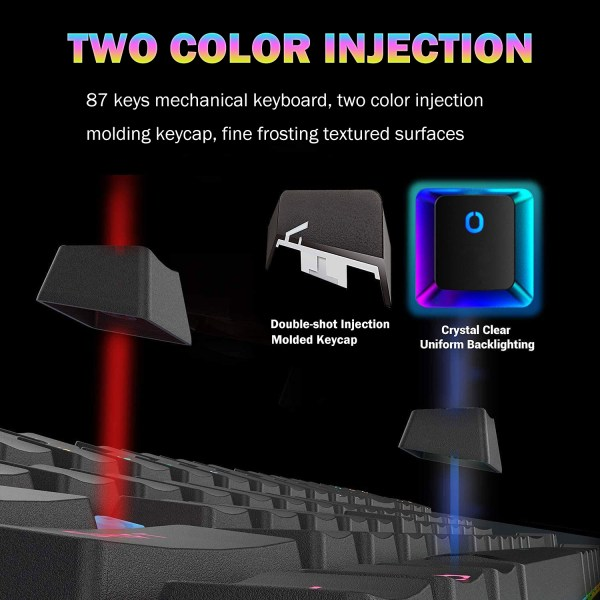 Mechanical Gaming Keyboard Blue Switch 87 Keys USB Wired Rainbow LED Backlit Keyboard For PC Laptop Computer 7