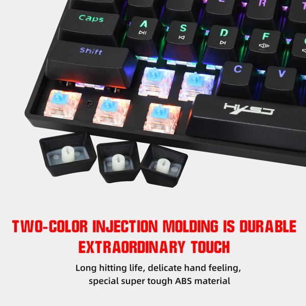 60% Mechanical Gaming Keyboard Blue Switch, Full Anti-Ghosting 61 Key Rainbow Backlit, Wired USB Type-C Cable, 18 Backlit Effects 7