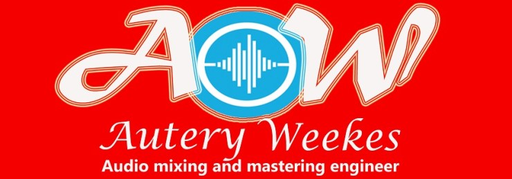 A logo picture illustrating a red background with a blue and white design in the center A and W in white on the side of it and in the bottom mark in white also is Autery Weekes and in the bottom of Autery Weekes is audio mixing and mastering engineer.