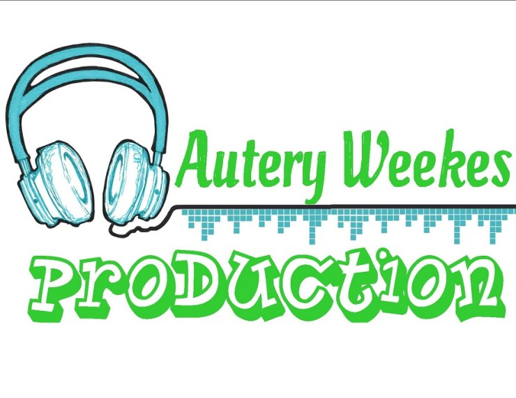A logo image for AuteryWeekes production illustrating a blue and black headphone with a design line that goes straight across to the right, on top of the lines says autery weekes in green and the bottom of the line says production also in green but a different font and starts from the beginning of the headphone to the end of the line.