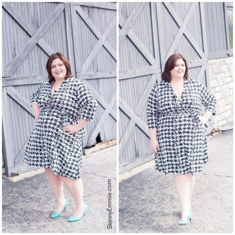 Emmie in Faux Wrap Houndstooth Dress via Gwynnie Bee