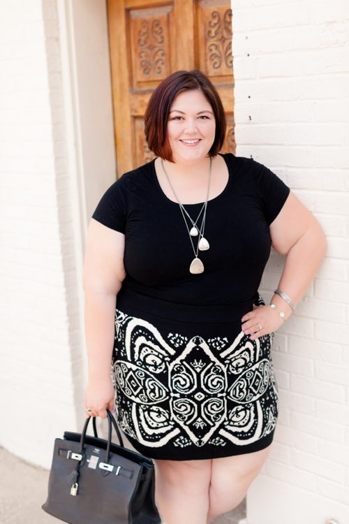Plus size fashion blogger Emmie in an ASOS Curve Knit Skirt