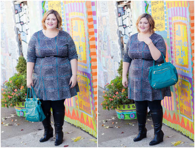 Emmie in the Poppy & Bloom  Corner Office A-Line Dress in Teal