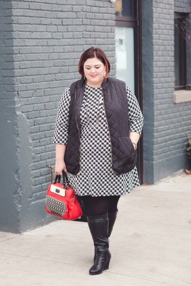Houndstooth dress and quilted vest on plus size blogger Authentically Emmie