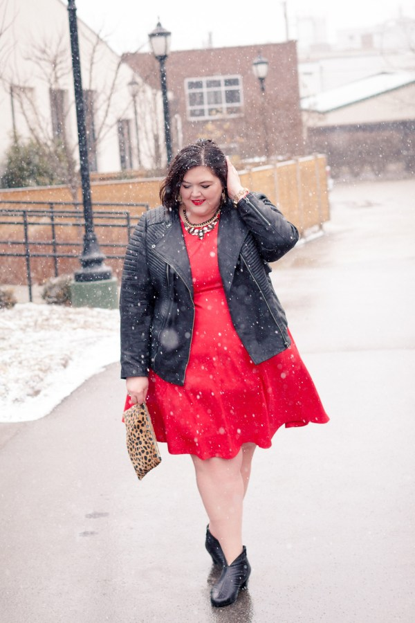 Plus size fashion blogger Authentically Emmie in an Eloquii dress