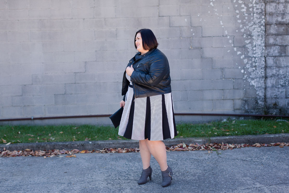 Authentically Emmie in the Taylor Dresses Stripe Dress with Pleated Skirt from Gwynnie Bee
