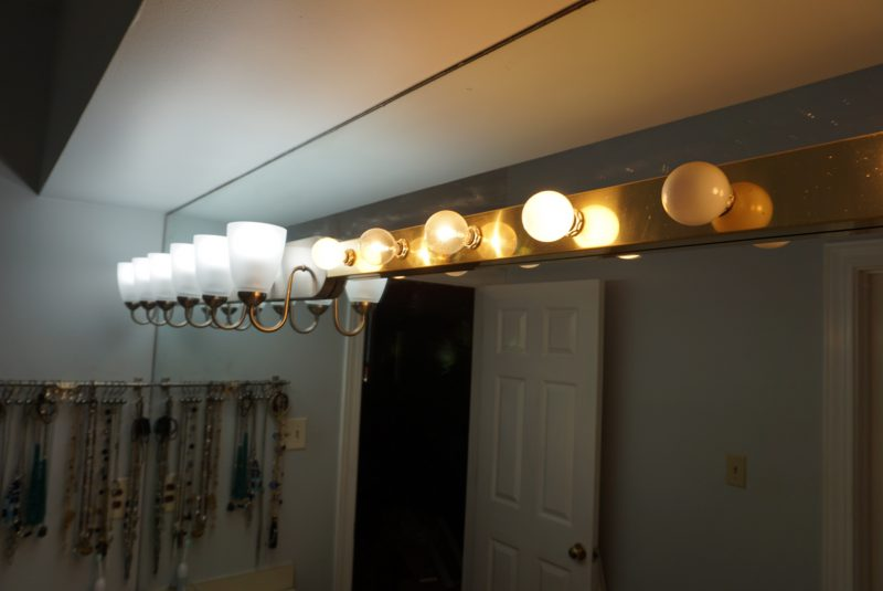 Amazing Here us the finished product in the master bathroom the lights at least u other changes to e in there