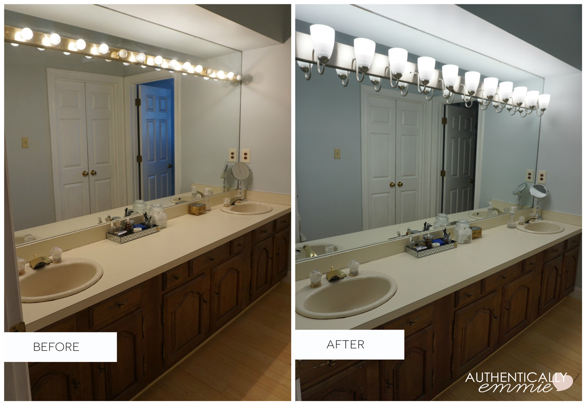 replacing a light fixture on a vanity mirror 25337