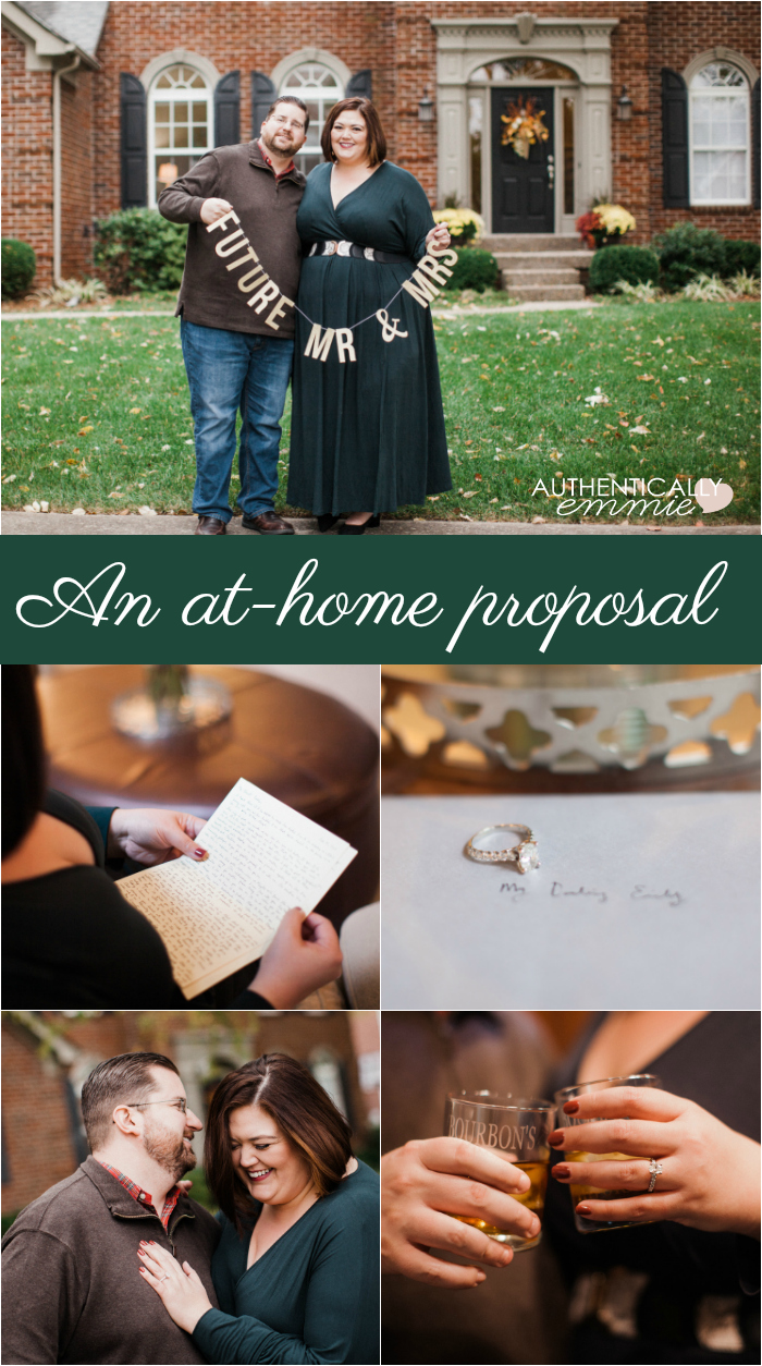 At at home proposal in Kentucky for blogger Authentically Emmie #engaged #proposal #engagementphotos