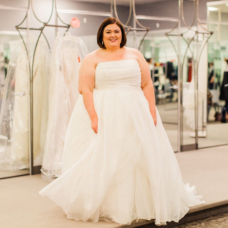 Plus size wedding dress shopping with david 39 s bridal for Plus size pink wedding dresses