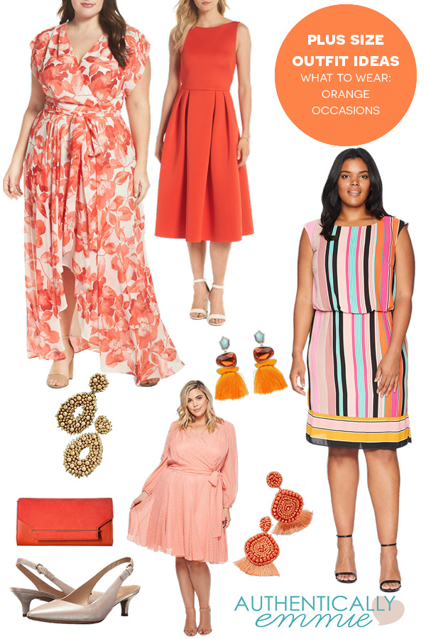 Plus size outfit ideas for a summer fundraiser featuring the color orange from plus size blogger Authentically Emmie #plussize #ootd #style #psblogger