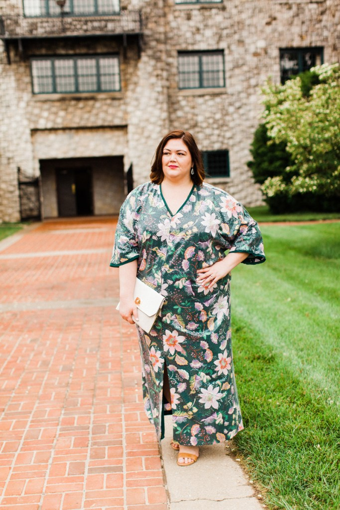Plus size sequin caftan on fashion blogger Authentically Emmie