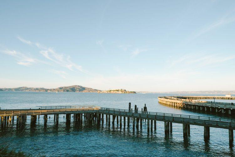 Alcatraz island out in the ocean