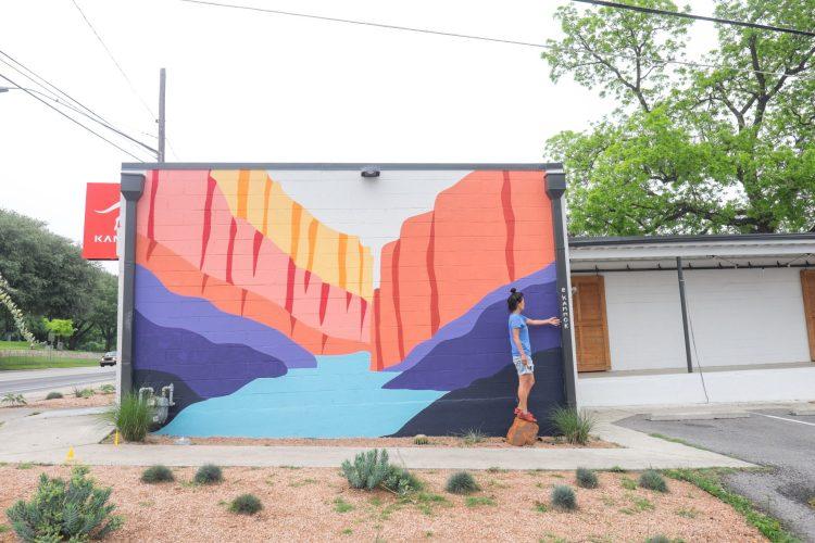 Street art mural of the Santa Elena Canyon in Austin, Texas