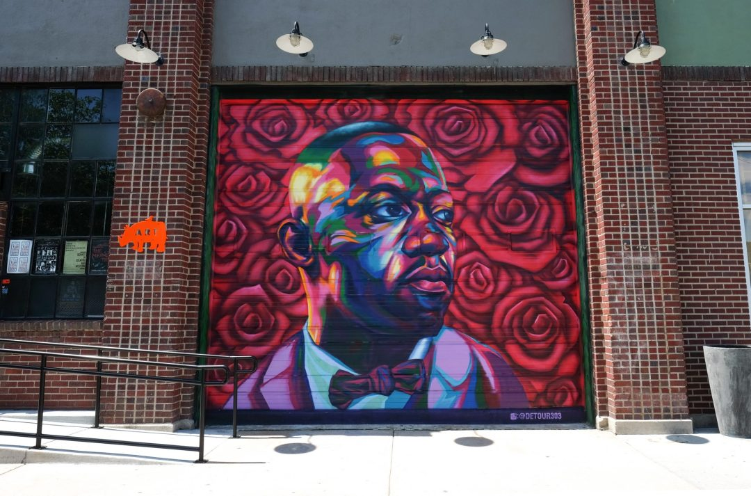 A mural of Art Blakey by Detour in Denver, Colorado