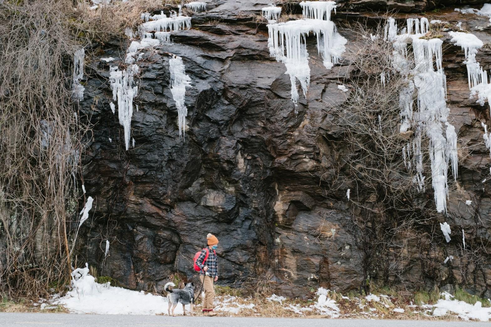 Erin McGrady walking on the Blue Ridge Parkway near Asheville in the winter.