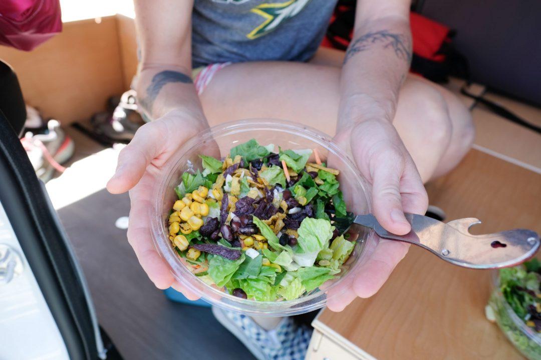 A prepackaged salad.