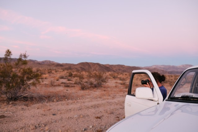 Taking photos in Joshua Tree National Park at sunset.