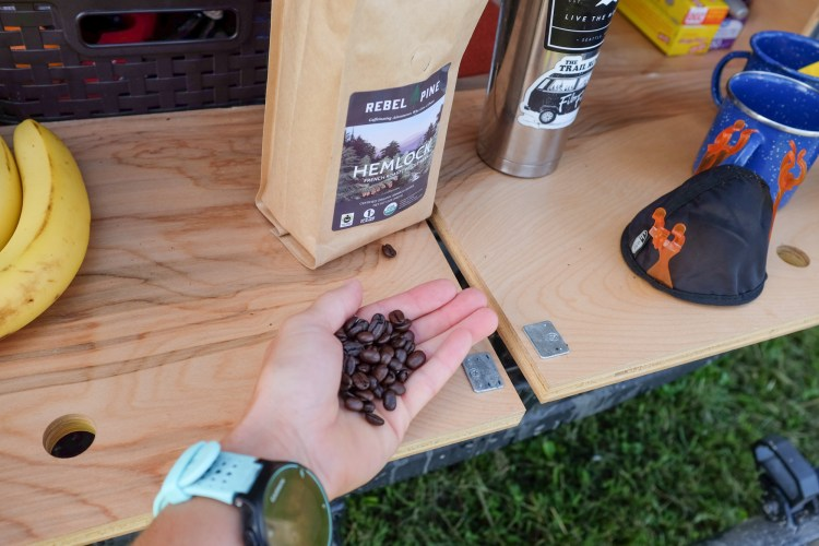 holding coffee beans in front of the van.
