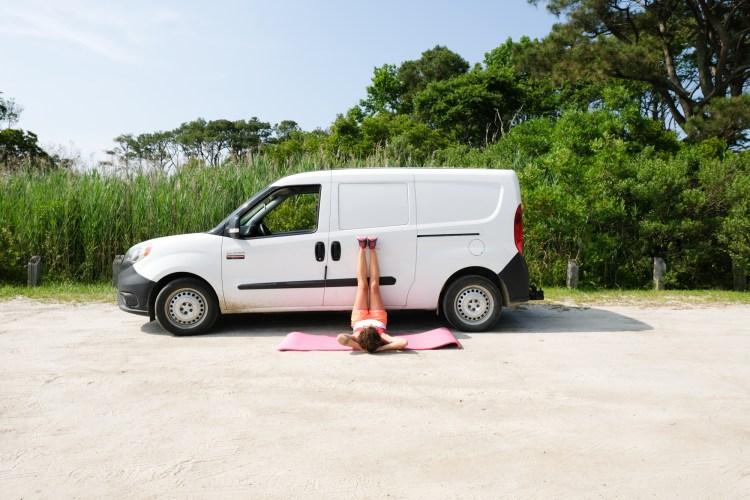Legs up on the van.