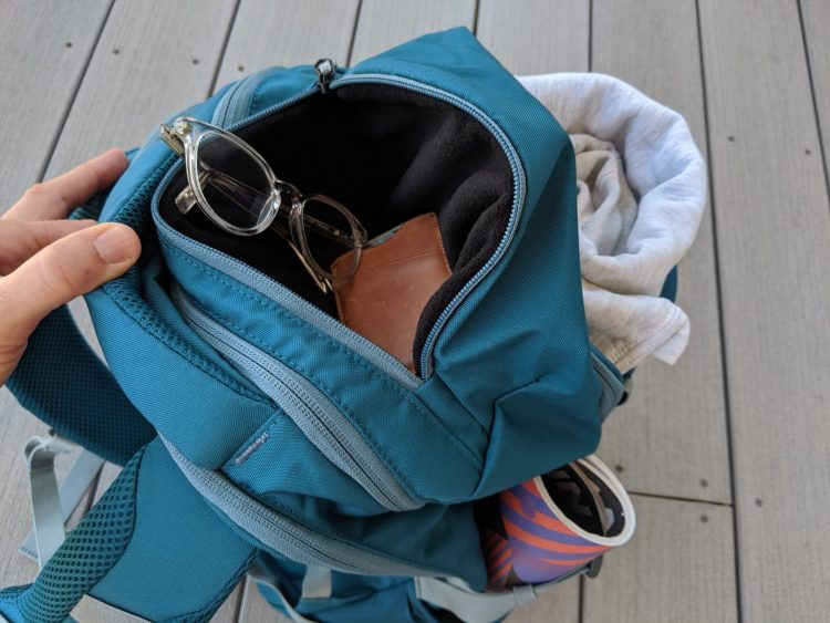Photo of the brushed pocket on the Backcountry 27L Daypack