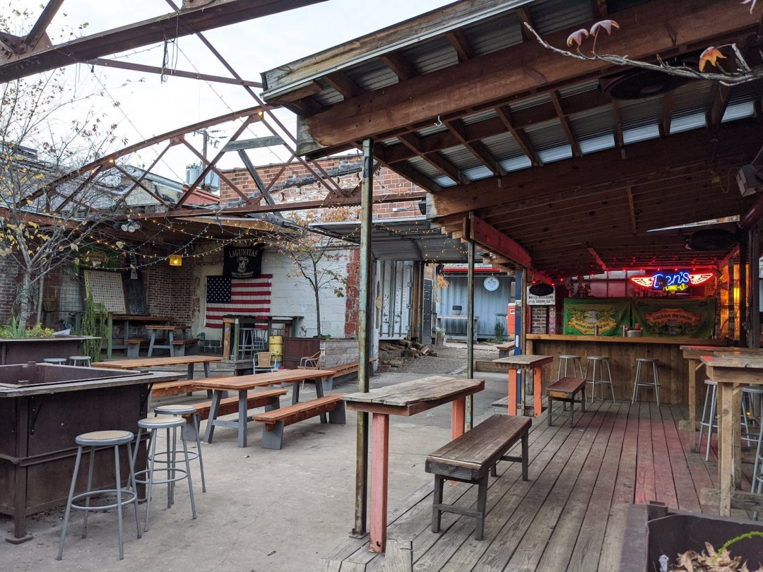 a photo of one of the best outdoor bars in Asheville is Ben's Tune Up