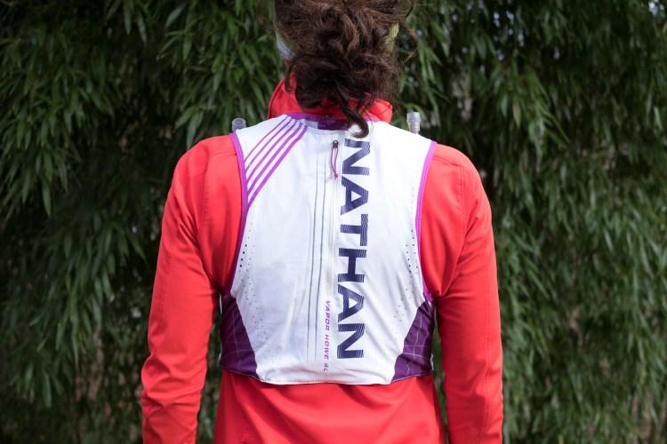 Photo of the back storage pocket on the Nathan VaporHowe 2.0 4 Liter Women's Ultralight race vest.