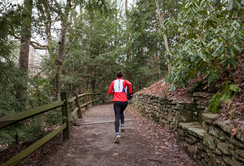 photo of a woman running in Asheville, North Carolina