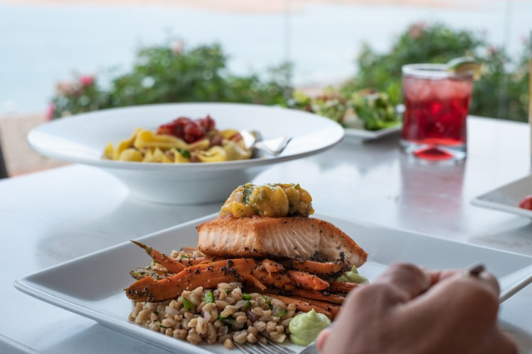 A blurred out hand holds a fork ready to take a bite of a grilled salmon topped with salsa and served over a bed of grains and roasted carrots. A blurred out pasta dish is in the background.