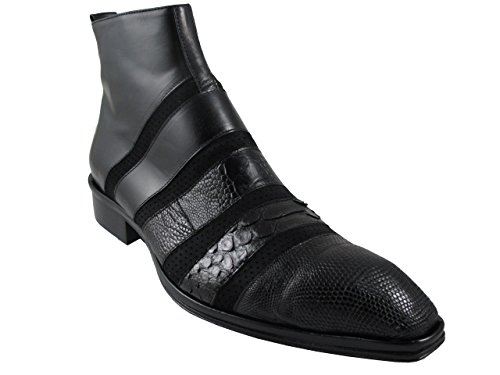 Jo Ghost 2800 Men's Python/Suede/Lizard/Leather combo, Luxurious Pointy Dressy Boots, Black Sise 43