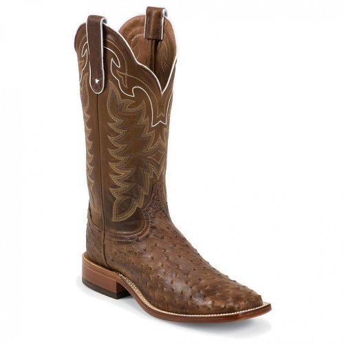 Tony Lama Men's San Saba Vintage Full Quill Ostrich Cowboy Boot Square Toe Chocolate 13 EE US