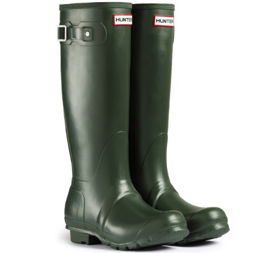 Mens Hunter Wellington Boots Original Tall Rainboots Snow Wellies New – Dark Olive – 9