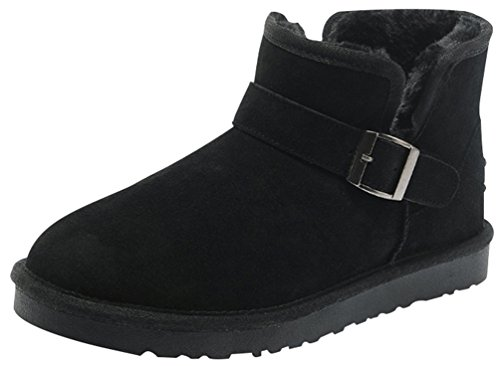 Rock Me Fluff Opening Collar Knitting Buckle Men Ankle Snow Boots Gentle I(10 D(M) US, Black)