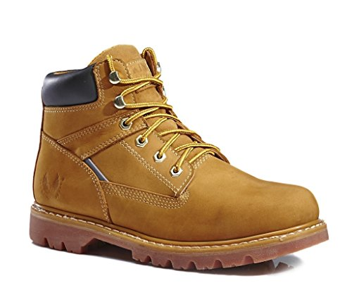 KINGSHOW Men's 1406 Premium Full-Grain Leather Plain Rubber Sole Soft Toe Work Boots