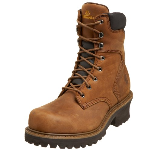 Chippewa Men's 55026 8″ Industrial Steel Toe Logger Boot,Tuff Bark,9.5 XW US