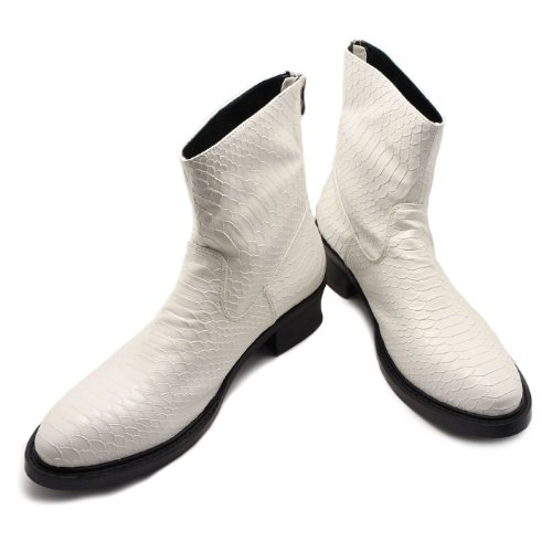 [endevice] Casual Boots Engineer Boot Men's Casual Shoes Pecos Boot Work Men's Boots Mountain Boots Lizard Back Zip White ,40 EU (US Men's 8 M)