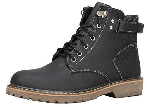Serene Mens Winter Style Leather Warm Fur Lining Velcro Combat Boots(10.5 D(M)US, 3109Black)
