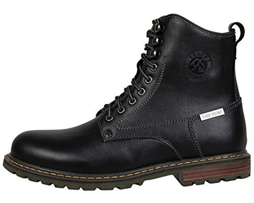 Serene Mens Comfortable Winter Warm Leather Lace-up Padded Walking Tactiacl Boots (10.5 D(M)US, Black)