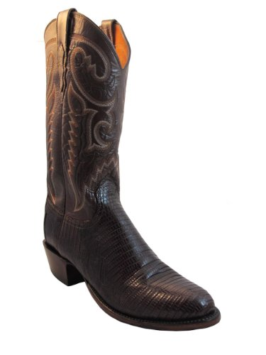 Lucchese 2000 Men's Cowboy Boot T3414.R4 Cigar Lizard/Antique Brown Buffalo Size 9