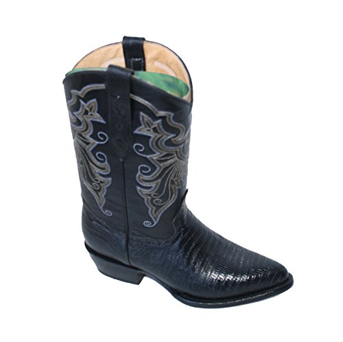 Cowboy boot's Genuine Leather Lizard Print Cowboy Handmade Luxury Boots_Black_9
