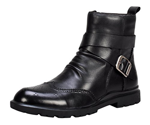 Serene Mens Breathable Leather Faux Fur Casual Tactical Boots (8 D(M)US, Black)