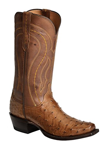 Lucchese Men's Handcrafted 1883 Full Quill Ostrich Western Boot Square Toe Tan Burnish US